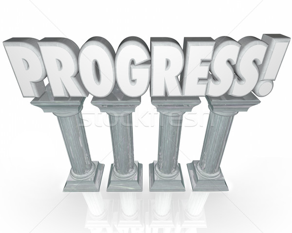 Progress Improvement Momentum Word on Columns Stock photo © iqoncept