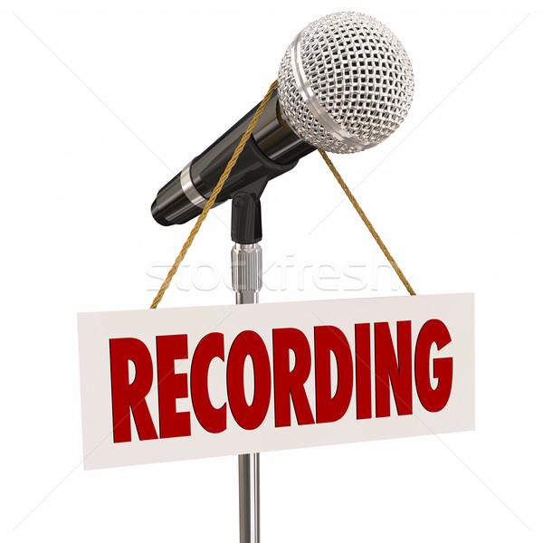 Felirat mikrofon beszéd énekel audio stúdió Stock fotó © iqoncept