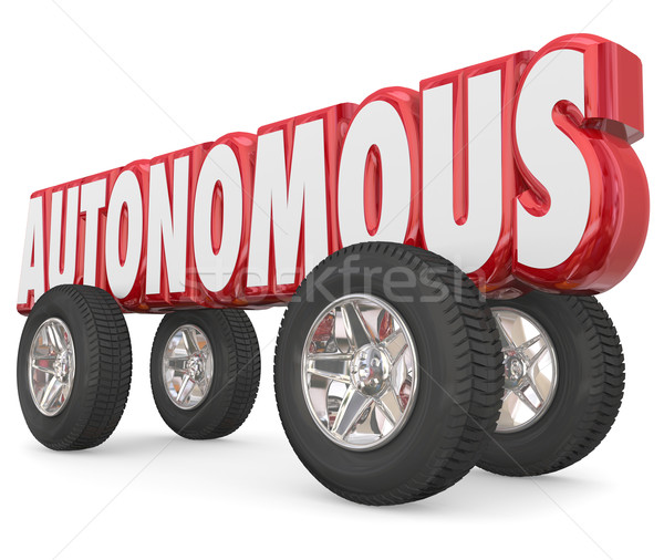 Autonomous 3d Red Word Car Wheels Tires Self Driving Vehicle Stock photo © iqoncept