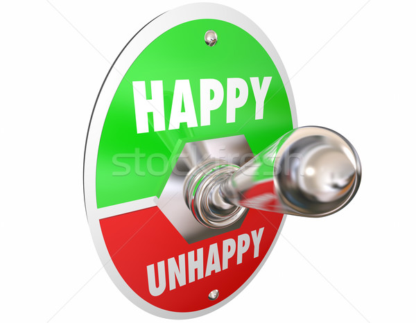 Happy Vs Unhappy Sad Toggle Switch Turn On Mood Feelings 3d Illu Stock photo © iqoncept
