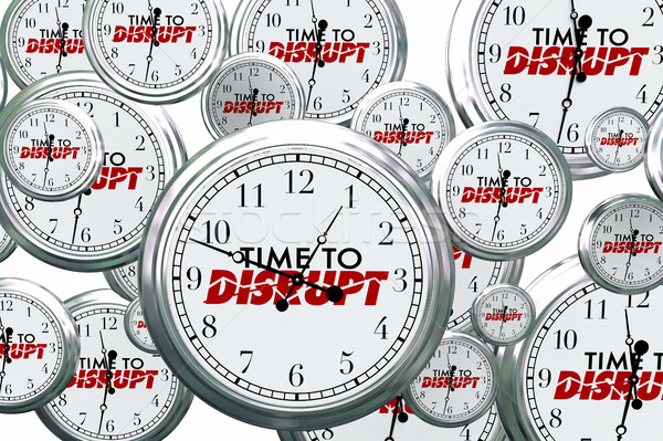 Time to Disrupt Change Reinvent Clocks Flying 3d Illustration Stock photo © iqoncept