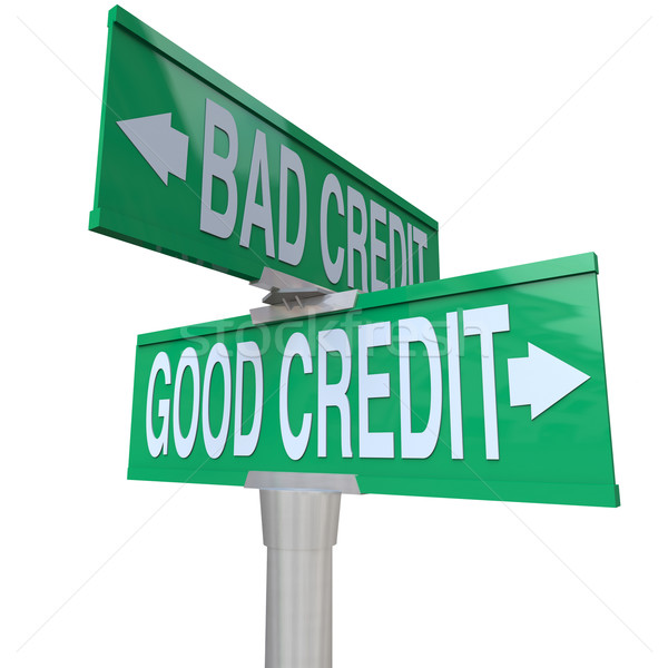 Good vs Bad Credit - Two-Way Street Sign Stock photo © iqoncept