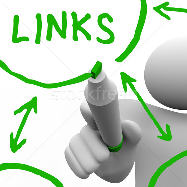 Stock photo: Links Connected in Network Drawn on White Board