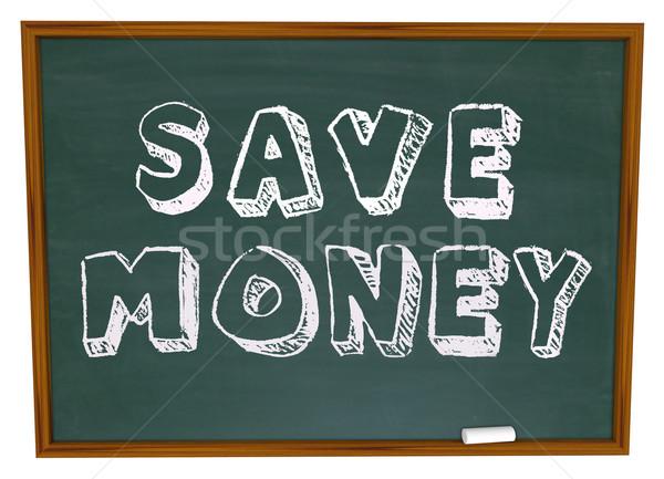 Megtakarítás szavak tábla oktatás megtakarított pénz vissza az iskolába Stock fotó © iqoncept