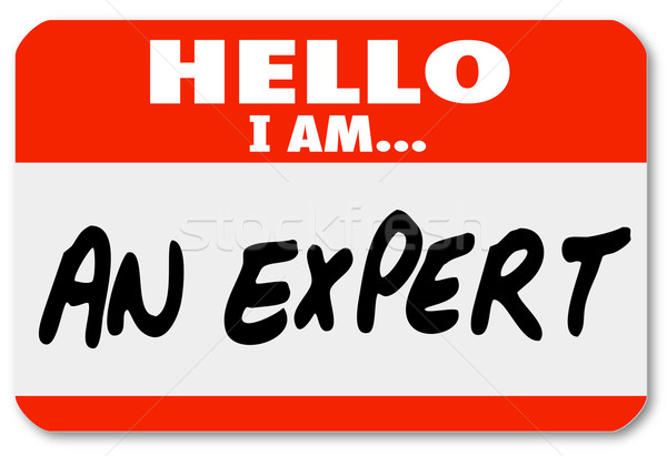 Stock photo: Hello I Am an Expert Nametag Expertise Tag