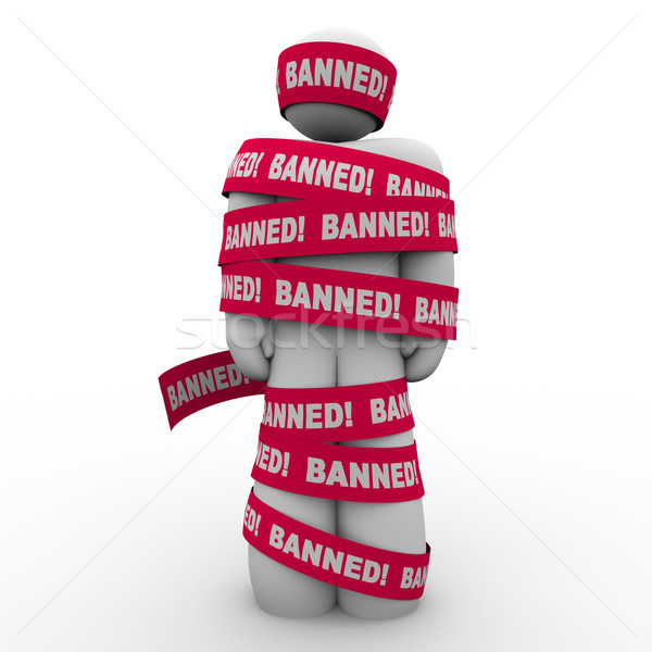 Banned Man Person Wrapped Red Tape Forbidden Suppression Stock photo © iqoncept