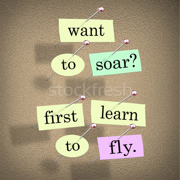 Want to Soar First Learn to Fly Words Saying Quote Stock photo © iqoncept