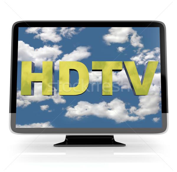 Hdtv göstermek beyaz televizyon gökyüzü Stok fotoğraf © iqoncept