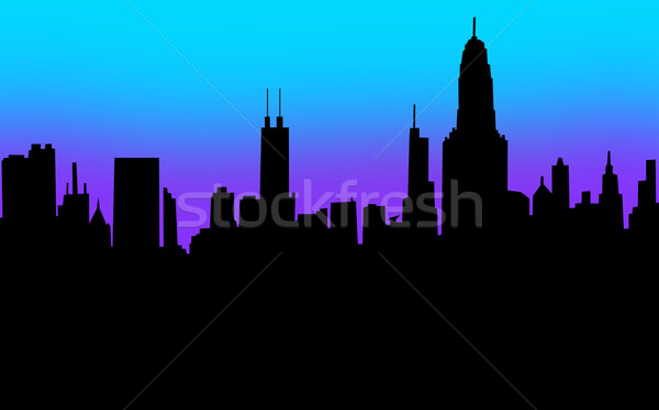City Skyline Silhouette Black Blank Copy Space Your Message Stock photo © iqoncept