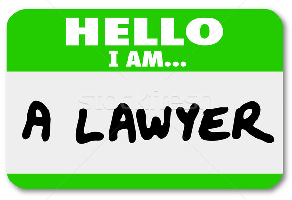 Lawyer Hello Name Tag Attorney Lawsuit Justice Stock photo © iqoncept