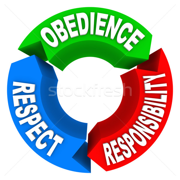 Obedience Respect Responsibility Words Honor Authority Stock photo © iqoncept