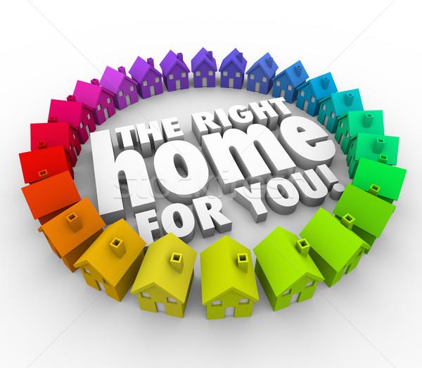 Stock fotó: Talál · helyes · otthon · szavak · házak · ingatlan