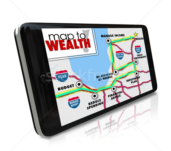Map to Wealth Navigation GPS Smart Phone Find Income Money Earni Stock photo © iqoncept