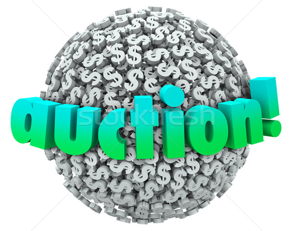 Auction Money Dollar Signs Symbols Ball Bid Item Buyer Seller Stock photo © iqoncept