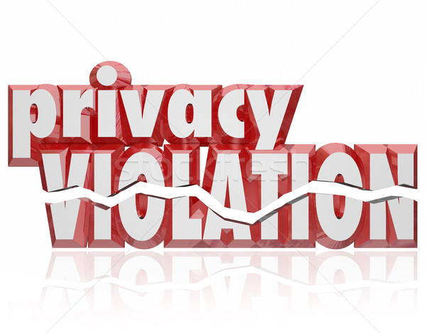 Privacy Violation 3d Words Cracked Letters Invasion Private Info Stock photo © iqoncept