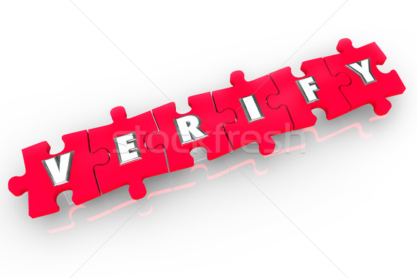 Verify 3d Word Puzzle Pieces Confirm Inspect Prove Stock photo © iqoncept
