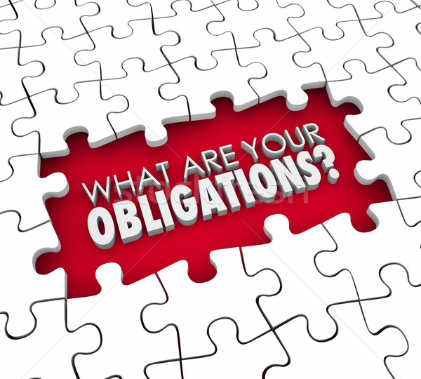 What Are Your Obligations Question Puzzle Pieces Hole Stock photo © iqoncept