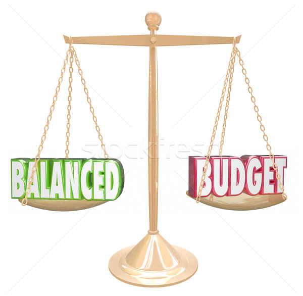 Balanced Budget 3d Words Scale Financial Costs Revenue Equal Stock photo © iqoncept