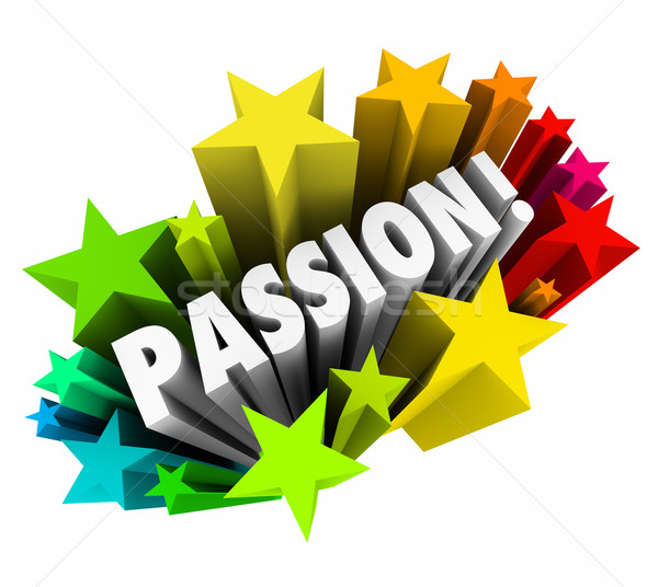 Passion Word 3d Letters Stars Exciting Feeling Intense Emotion Stock photo © iqoncept