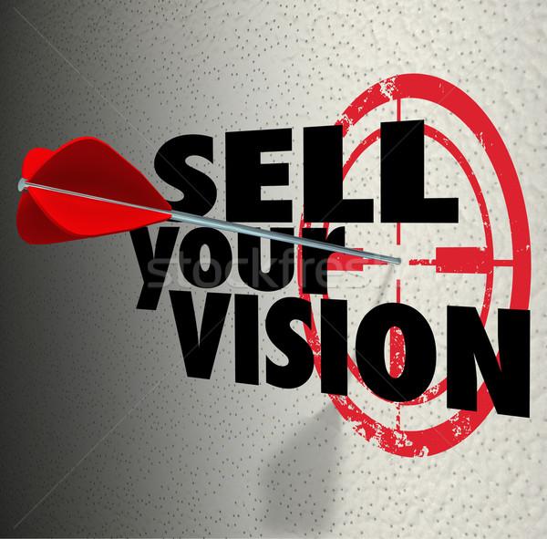 продавать видение слов стрелка целевой презентация Сток-фото © iqoncept