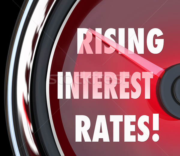 Rising Interest Rates Words Speedometer Gauge Increase Loan Fina Stock photo © iqoncept