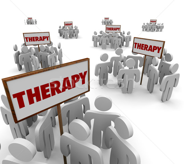 Therapy Group Session People Gathered Meeting Around Signs Stock photo © iqoncept
