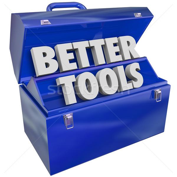 Jobb szerszámok kék fém szerszámosláda javít Stock fotó © iqoncept