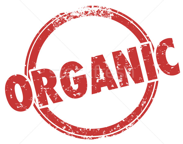 Organic Round Red Stamp Hormone Pesticide Free Food Ingredients Stock photo © iqoncept