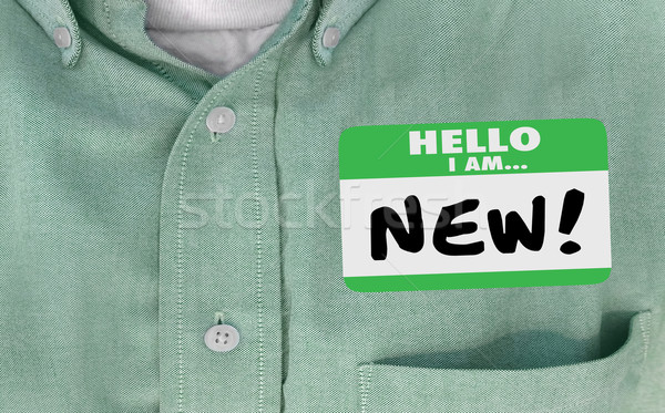 Hello I am New Words Sticker Name Tag 3d Illustration Stock photo © iqoncept
