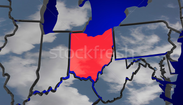 Ohio Map Clouds USA United States America Environment Climate Ch Stock photo © iqoncept