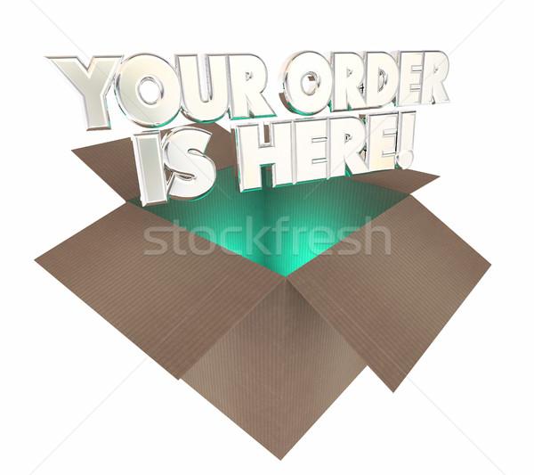 Ordem aqui caixa pacote ilustração 3d cartão Foto stock © iqoncept
