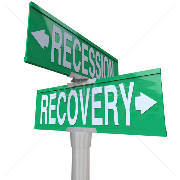 Recession Recovery Street Signs Economy Growth Stock photo © iqoncept
