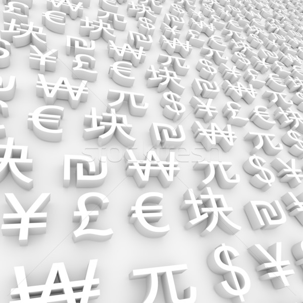 Global Currency Symbols White Stock Photo Iqoncept 292989