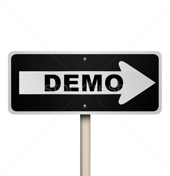 Demo Product Demonstration Road Sign Service Example Stock photo © iqoncept