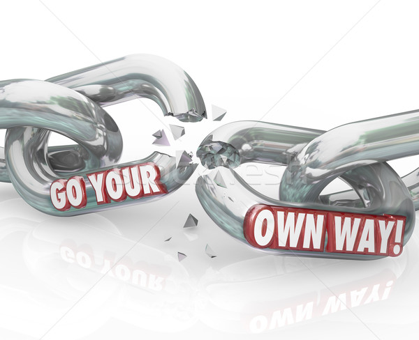 Go Your Own Way Break Split Up Broken Chain Links Stock photo © iqoncept