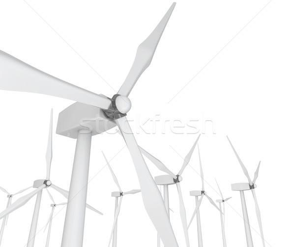 Wind Power - Turbines on White Stock photo © iqoncept