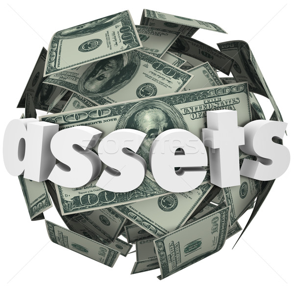 Assets Word Money Sphere Ball Value Net Worth Wealth Stock photo © iqoncept