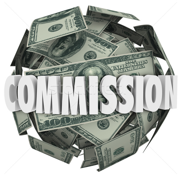 Commission Word Hundred Dollar Bill Ball Sphere Stock photo © iqoncept