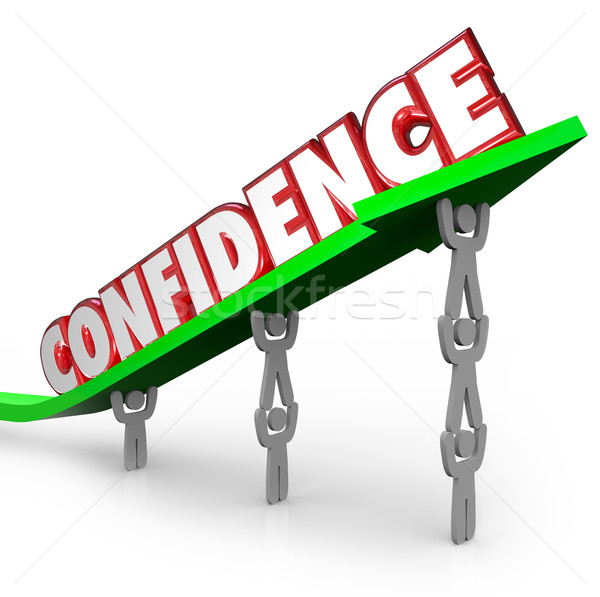 Confidence Word Team Lifting Arrow Believe Yourself  Stock photo © iqoncept