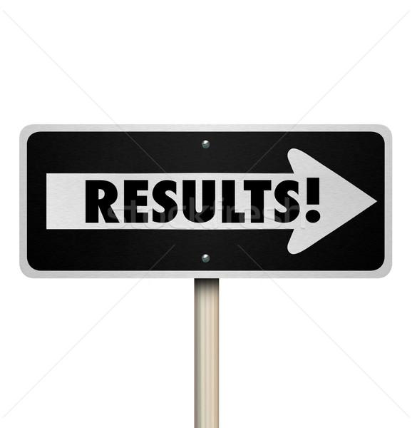 Resultados placa sinalizadora resultado responder Foto stock © iqoncept