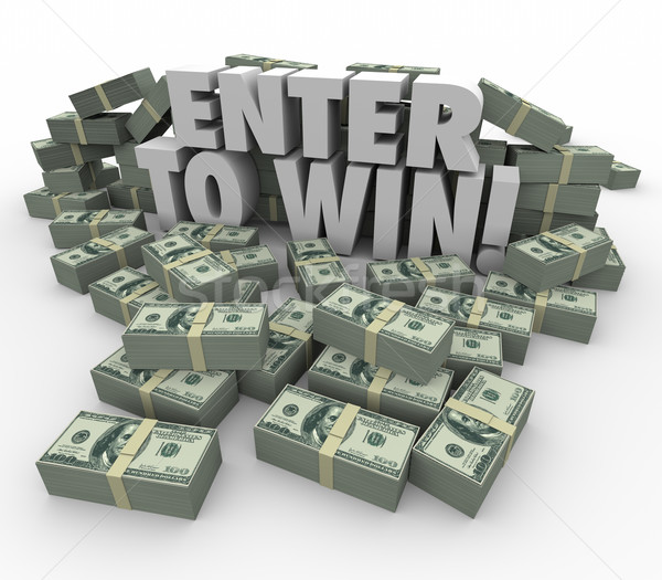 Enter to Win 3d Words Cash Money Stacks Contest Raffle Lottery Stock photo © iqoncept