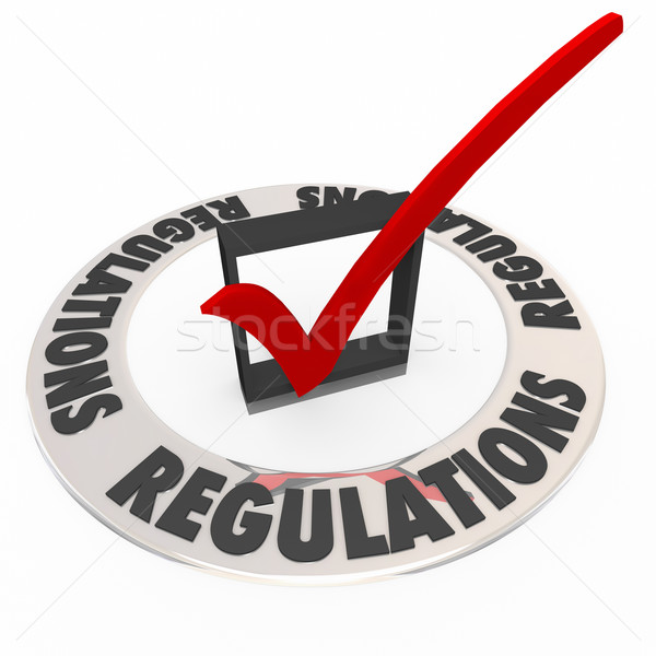 Regulations Word Check Mark Box Rules Followed Completed Stock photo © iqoncept