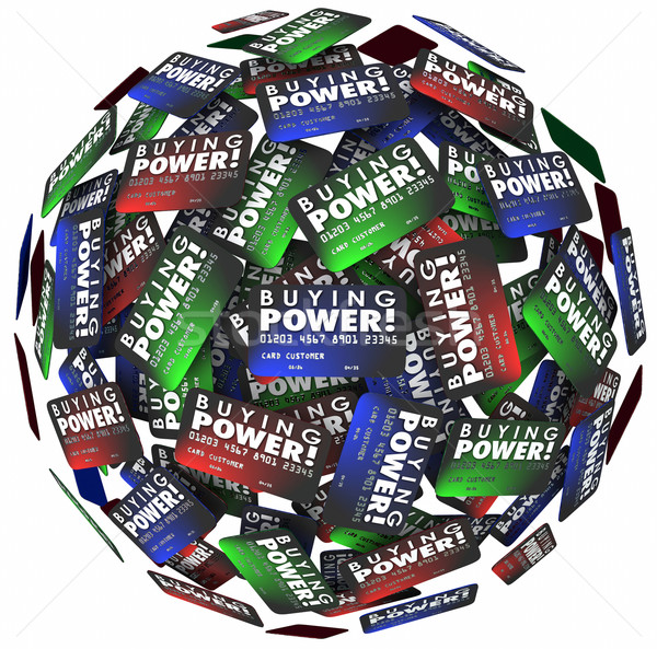 Buying Power Words Credit Cards Sphere Borrow Money Loan Debt Stock photo © iqoncept