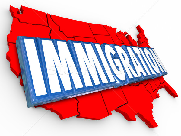 Immigration 3D mot USA États-Unis carte Photo stock © iqoncept