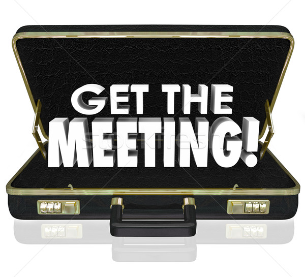 Get the Meeting Black Briefcase Words Client Customer Sales Call Stock photo © iqoncept