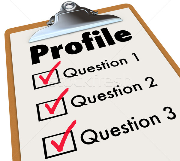 Profile Clipboard Checklist Questions Asking Personal Data Infor Stock photo © iqoncept