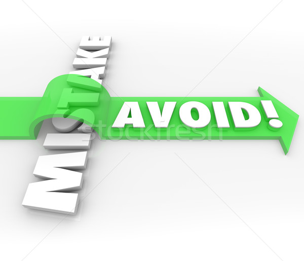 Avoid Mistake Arrow Over Word Prevent Problem Error Stock photo © iqoncept