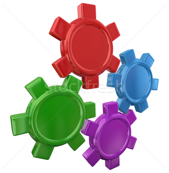 Four Colorful Gears Turning Working Together Blank Copy Space Yo Stock photo © iqoncept