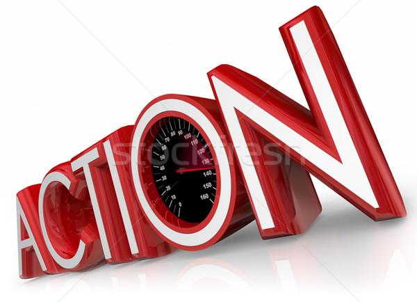Ação velocímetro 3D vermelho palavra ilustrar Foto stock © iqoncept