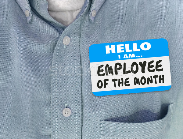 Employee of the Month Name Tag Blue Shirt Welcome Onboarding Sta Stock photo © iqoncept